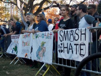 Counter-protesters outnumbered neo-Nazis and KKK members.
