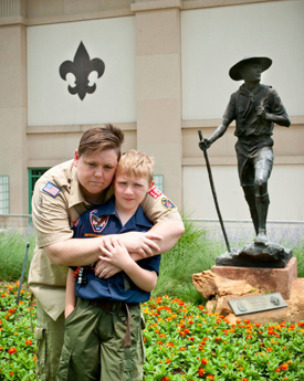 Jennifer Tyrrell and her son, Cruz, at the National Scouting Museum in Irving, Texas, the day after the Scout youth membership vote. Photo courtesy: Mark Noel, Inclusive Scouting Network.