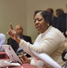 LaWana Mayfield, pictured here during an April City Council meeting discussing the airport and the city's airport advisory committee. Photo Credit: Robert Lahser/Charlotte Observer.