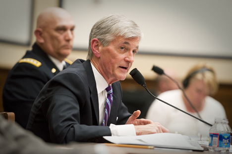 Secretary of the Army John McHugh testifies before the House Armed Services Committee about the Fiscal Year 2014 National Defense Authorization Budget Request during an April 25 hearing on Capitol Hill. Photo Credit: U.S. Army photo by Spc. John G. Martinez