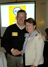 Patsy Kinsey, right, with former MeckPAC Chair Phil Hargett at an endorsement party in 2009. File Photo.