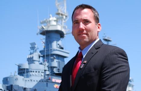 Republican-turned-Democratic candidate Jason Thigpen at the U.S.S. North Carolina. Via Jason Thigpen/Flickr.