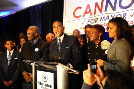 Patrick Cannon speaks to supporters after his mayoral election win at the Sheraton Hotel in Uptown Charlotte. Photo Credit: David T. Foster/Charlotte Observer.
