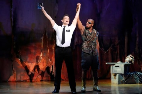 Actors Mark Evans and Derrick Williams in 'The Book of Mormon' national tour. Photo Credit: Joan Marcus.