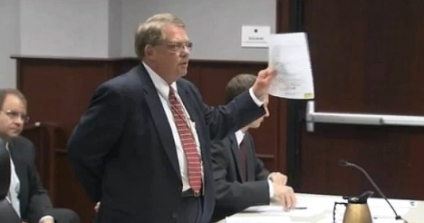 Special Deputy Attorney General Donald Teeter speaks during a court hearing on Monday. Credit: WRAL video still.
