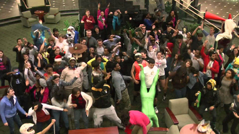 "A still from the UNC-Charlotte ""Harlem Shake"" video in the campus' student center. Filmed by Sara Key and edited by Andrew Baker. Watch it online at youtu.be/jJNPqJSY93M."