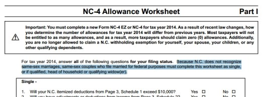 The new NC-4 long form contains a reminder of North Carolina's anti-gay marriage discrimination. Click to enlarge.