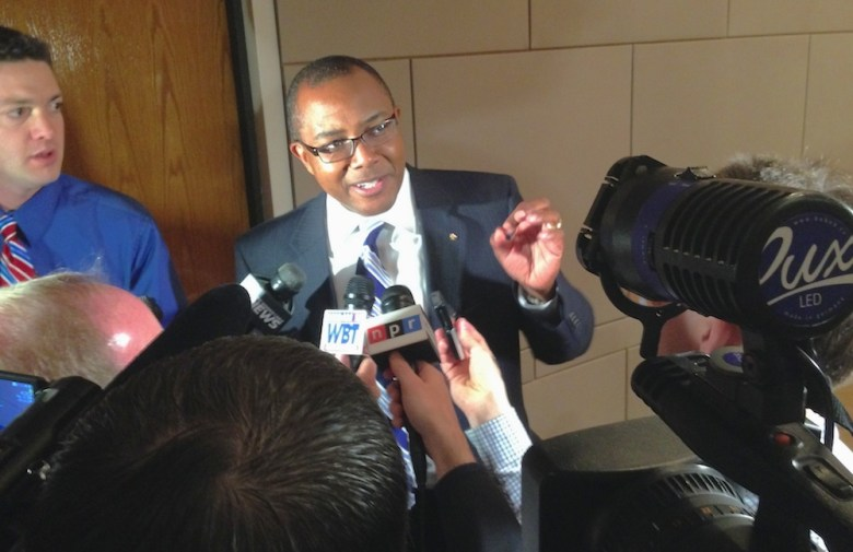 Charlotte Mayor Pro Tempore Michael Barnes speaks to media after Monday's special City Council meeting.