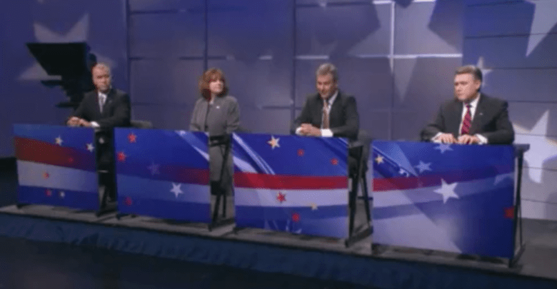 Republican U.S. Senate candidates (L-R) Thom Tillis, Heather Grant, Greg Brannon and Mark Harris at the WRAL debate on Wednesday.