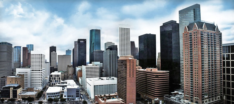 Houston skyline.  Photo Credit: Hequals2henry, via Wikimedia Commons. Licensed CC.