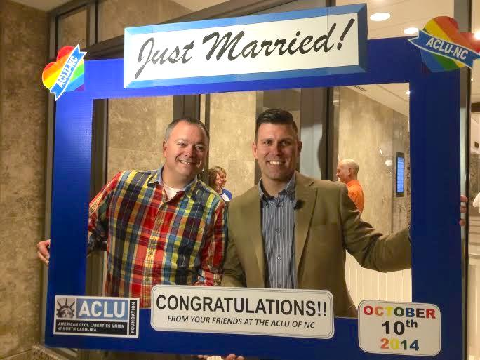 Chad Boggs and Chris Creech celebrate after their marriage in Raleigh. Photo Credit: ACLU of North Carolina.