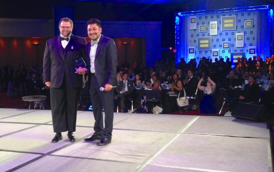 Equality Award winner Josh Bledsoe, left, with HRC Gala Committee member Daniel Valdez. Photo Credit: Matt Comer.