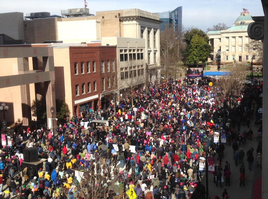 Thousands marched in the NAACP's annual HKonJ in Raleigh. Photo by Jake Gellar-Goad.