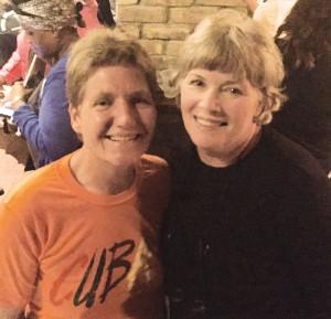 International Women's Flag Football Association President Diane Signe Beruldsen (left) and actress Kelly McGillis at a tourney mixer.