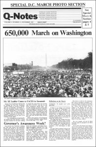The March on Washington was covered in the early days of qnotes' publishing history.
