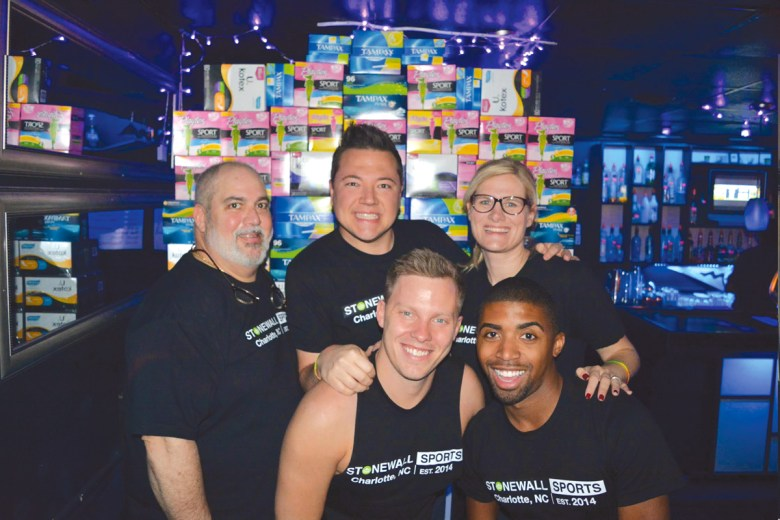 Doing community service is something that Stonewall Sports strives to provide as seen here with 'Aunt Flo's Night Out' where they collected feminine hygiene products and distributed to local women and homeless shelters.