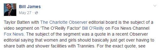 Bill James transgender