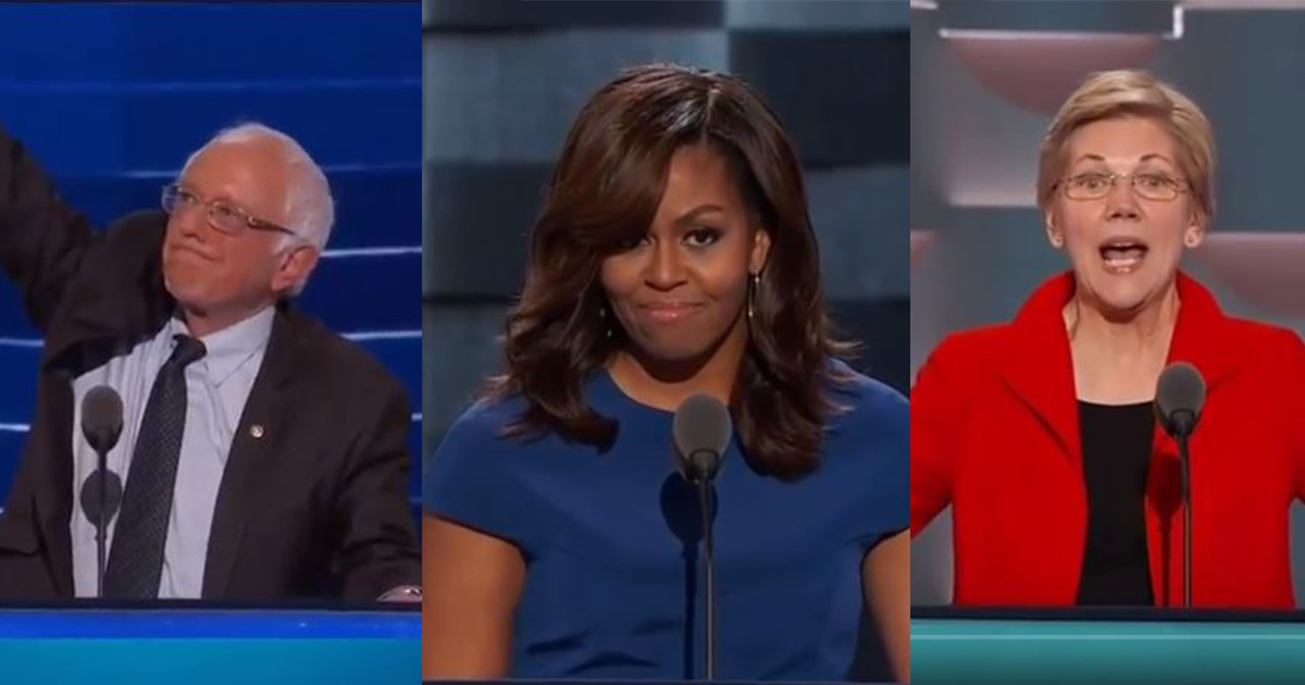 DNC 2016 speech sanders, michelle obama