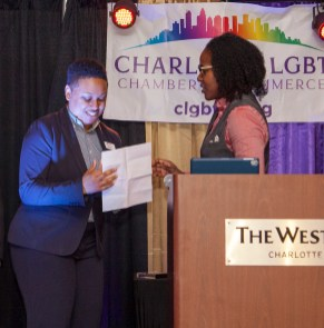 Ciara Lilly, Higher Ground Consulting owner, Emerging Entrepreneur (presented by Natasha Tutt, LGBTBE Certification & Supplier Diversity).