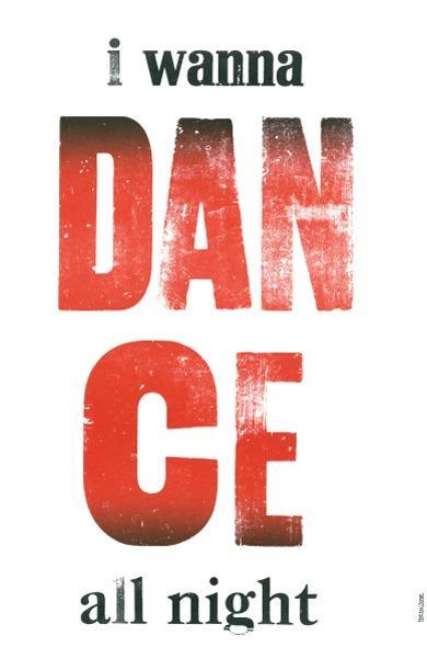 dance go radiate letterpress