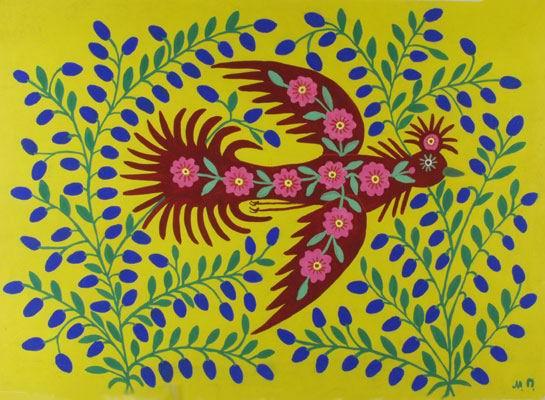 Maria Primachenko, A bird is flying, her master seeking, 1986