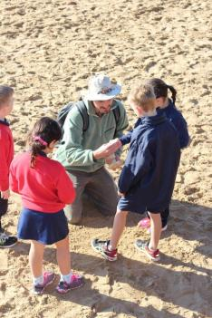 Education Leader Pete Crowcroft with the St Therese year 1 students at Fishermans Beach explore the hidden treasures in the sand.