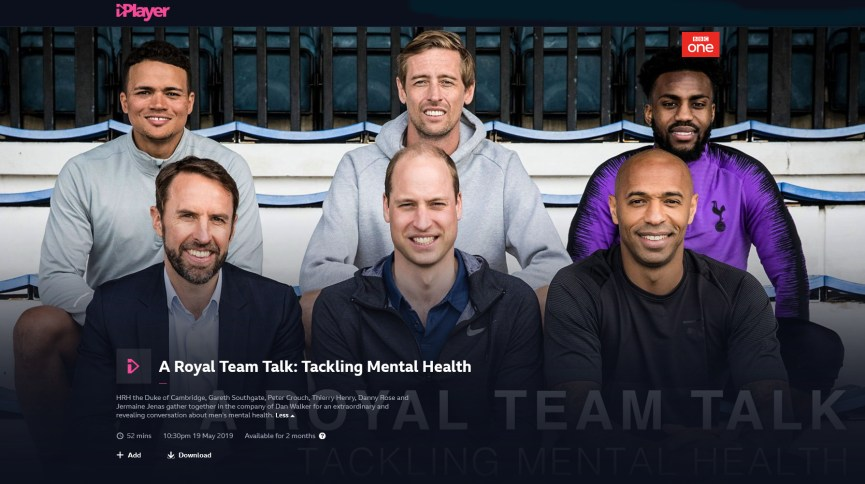 A Royal Team Talk: Tackling Mental Heath on BBC iPlayer