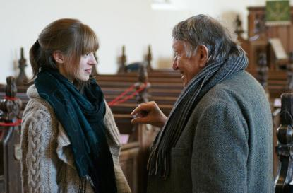 Gordon Crosse with violinist Fenella Humphreys after performing at the Alwyn Festival 2013 - 'photo credit Andrew Palmer