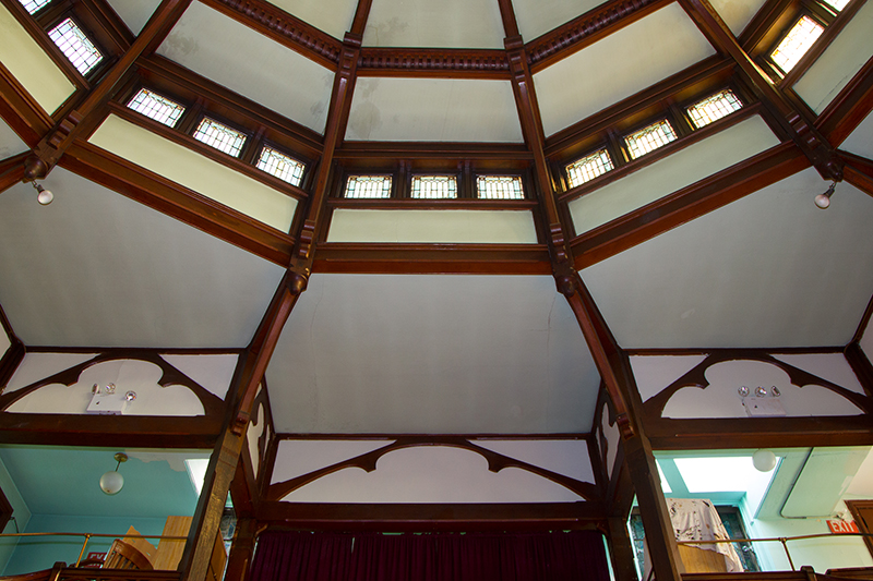 A view of the balcony and ceiling of the Sunday School addition of the Reformed Church in the historic Port Richmond section of Staten Island, N,Y. on Friday Oct. 25, 2013. (Gordon Donovan)