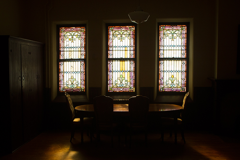 The afternoon light shines through the stain glass window of the nursery at the Reformed Church in the historic Port Richmond section of Staten Island, N,Y. on Tuesday Oct. 29, 2013. (Gordon Donovan)