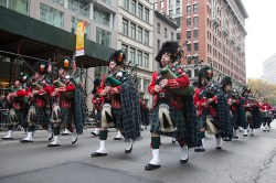 Members of the New York Fire Department's Emerald Society march during the Veterans Day parade on Fifth Avenue in New York on Nov. 11, 2014. (Gordon Donovan)