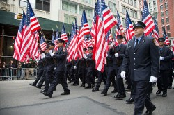 Members of the FDNY march during the Veterans Day parade on Fifth Avenue in New York on Nov. 11, 2014. (Gordon Donovan)