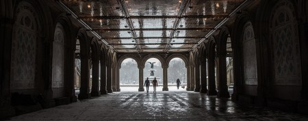 The Bethesda Fountain is scen from the underneath  the terrace in Central Park after a the winter storm hit the New York City area, Friday Jan. 9, 2015. (Gordon Donovan/Yahoo News)