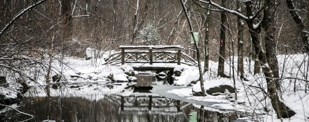 A bridge and the North Woods is covered in the white stuff in New York's Central Park on Friday Jan. 9, 2015. (Gordon Donovan/Yahoo News)