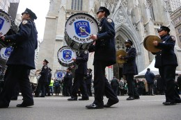 The New York City Police Pipe Band perform as they march during the St. Patrick's Day Parade, March 17, 2015, in New York. (Gordon Donovan)