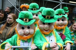 People dress up and enjoy the party like atmosphere during the St. Patrick's Day Parade, March 17, 2015, in New York. (Gordon Donovan)