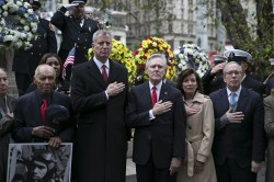 New York City Mayor Bill de Blasio and U.S. Secretary of the Navy Ray Mabus stand for a moment of silence during a ceremony before the Veterans Day parade on Fifth Avenue in New York City on Nov. 11, 2015. (Gordon Donovan)