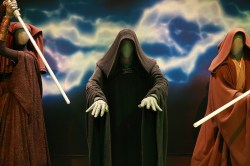 "Darth Sidious, the evil Dark Lord of the Sith who becomes Emperor of the Galactic Empire, wears the instantly recognizable black-hooded shape that was established in the first trilogy. For the prequels, actor Ian McDiarmid used the original neck brooch, which had been carefully stored in the archives. Darth Sidious's costume barely changes or develops throughout the saga. It was remade for ""The Phantom Menace"" in a very similar cloth and pattern. (Gordon Donovan/Yahoo News)"