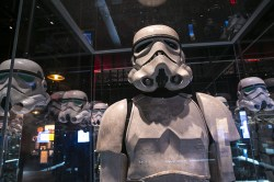 The distinctive, somehow contradictory, bright white armor of the Imperial Stormtrooper foot soldiers of the dark side quickly became one of the most iconic costumes in cinema history. (Gordon Donovan/Yahoo News)