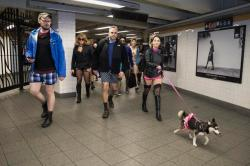 Participants of the No Pants Subway Ride heads towards a connecting train in New York City, Sunday, Jan. 10, 2016. The 'No Pants Subway Ride' is an annual event that has become a global celebration of bare thighs. The 'celebration of silliness' is designed to make other subway riders smile. (Gordon Donovan/Yahoo News)