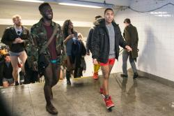 New York City: Participantss of the No Pants Subway Ride leave the subway platform in New York City, Sunday, Jan. 10, 2016. (Gordon Donovan/Yahoo News)