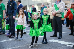 Two young marchers look festive during the St. Patrick's Day Parade, March 17, 2016, in New York. (Gordon Donovan/Yahoo News)