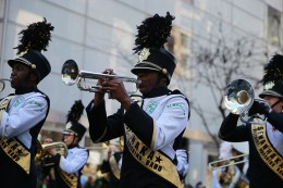 Members of Sewanhaka High School Band from Elmont perform on Fifth Avenue during the St. Patrick's Day Parade, March 17, 2014, in New York. (Gordon Donovan/Yahoo News)