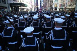 Members of the U.S. Navy march up Fifth Ave. during the St. Patrick's Day Parade, March 17, 2016, in New York. (Gordon Donovan/Yahoo News)