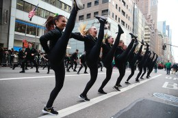 Performers from the Westlake Dance Company of Saratoga Springs Utah entertain the crowds during the St. Patrick's Day Parade on March 17, 2016, in New York. (Gordon Donovan/Yahoo News)