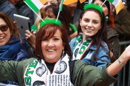 People dress up and enjoy the party like atmosphere during the St. Patrick's Day Parade, March 17, 2016, in New York. (Gordon Donovan/Yahoo News)