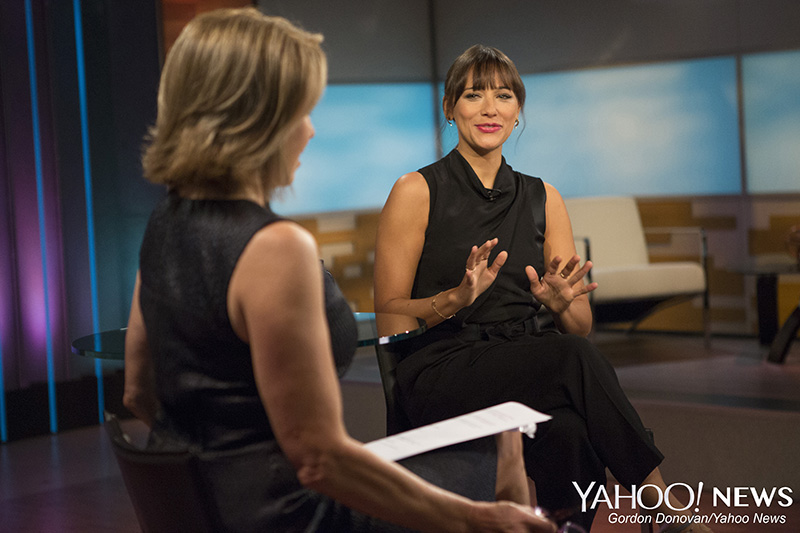 Actress Rashida Jones is interviewed by Yahoo Global News Anchor Katie Couric at the Yahoo Studios in New York City, Tuesday May 26, 2015. (Gordon Donovan/Yahoo News)