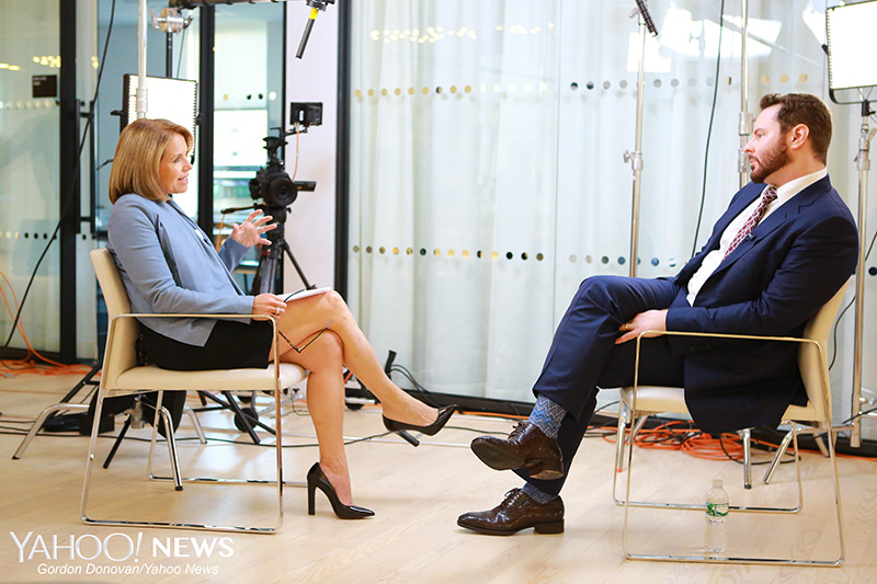 Yahoo Global News Anchor Katie Couric concludes her interview with Entrepreneur Sean Parker at the Yahoo Studios in New York City on Monday June 8, 2015. (Gordon Donovan/Yahoo News)