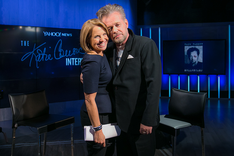 Yahoo Global News Anchor Katie Couric poses for a photo with recording artist John Mellencamp at the Yahoo Studios in New York City on Jan. 19, 2017. (Gordon Donovan/Yahoo News)
