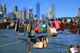 A view of love padlocks attached to the railings of Pier 1 in Brooklyn across the East River in New York City on August 23, 2016. (Gordon Donovan/Yahoo News)
